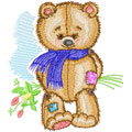 Teddy Bear with bouquet machine embroidery design