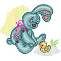 Bunny with small duck machine embroidery design