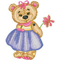 Girl Teddy Bear with flower machine embroidery design