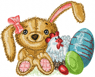 Old Toys Easter Bunny machine embroidery design