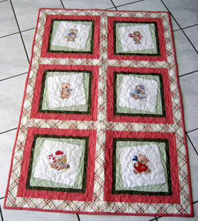 embroidered old toys quilt design