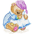 Teddy Bear Sleeping machine embroidery design