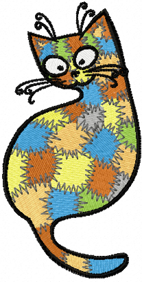 Patches Kitty machine embroidery design
