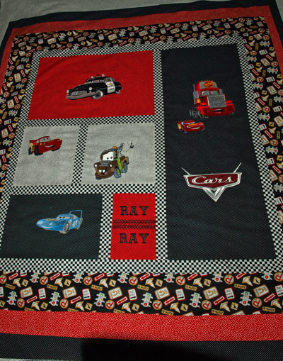 cars disney embroidered quilt
