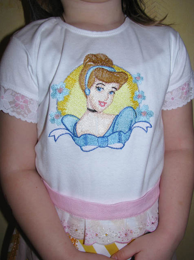 cinderella embroidery design on shirt