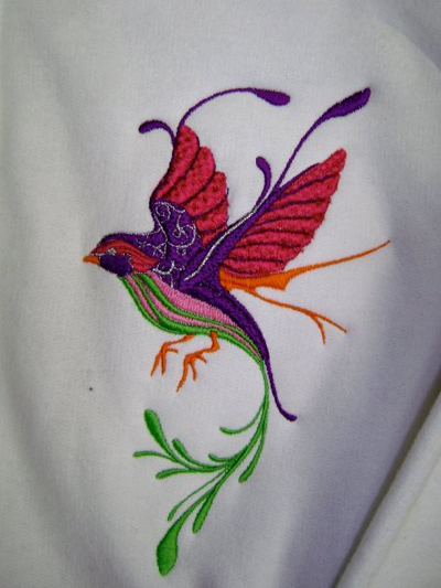 jacket with fantastic bird embroidery