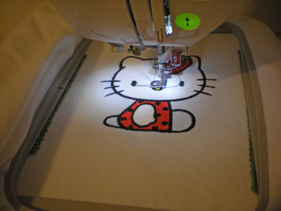 hello kitty embroidered in hoop