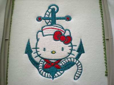 hello kitty nautical embroidered