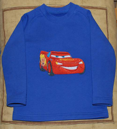 Lightning Mcqueen Machine Embroidery Design On Cardigan