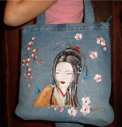 bag with geisha machine embroidery designs