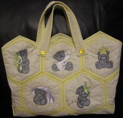 teddy bear designs on embroidered bag