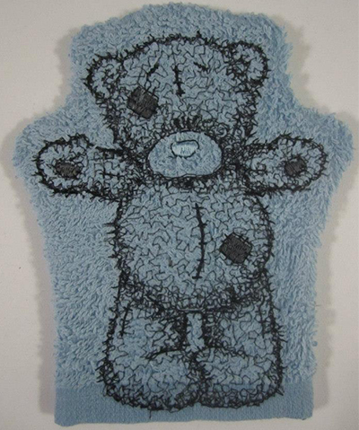Bath mitt with teddy bear hello machine embroidery design for Bathroom embroidery designs