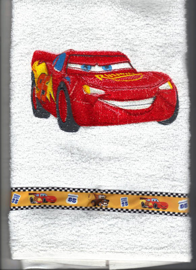 Backpack with Lightning McQueen machine embroidery design.