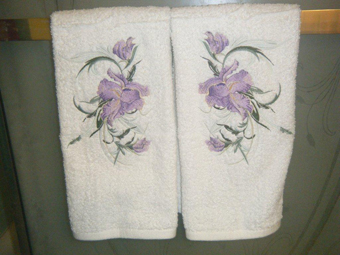 two towels big iris embroidery design