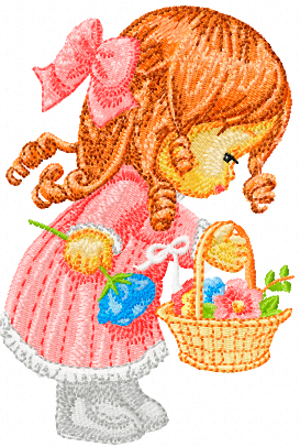 Little cute girl with a basket of flowers machine embroidery design