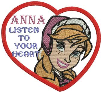 Anna with heart machine embroidery design