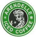 Arendelle coffee badge machine embroidery design