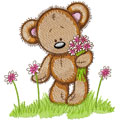 Teddy Bear spring embroidery design