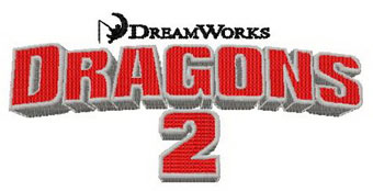 Dragons 2 logo machine embroidery design