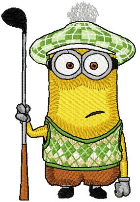 Minion Golfman machine embroidery design