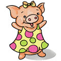 Happy piglet machine embroidery design