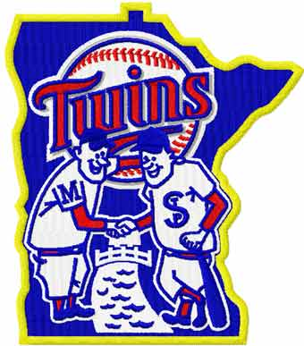 Minnesota Twins polite handshake machine embroidery design