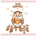 Owl with tea machine embroidery design