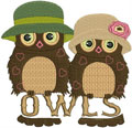 Two owls machine embroidery design