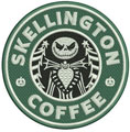 Skellington coffee machine embroidery design