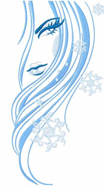 Snow beauty machine embroidery design
