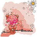Teddy Bear with pink flower embroidery design
