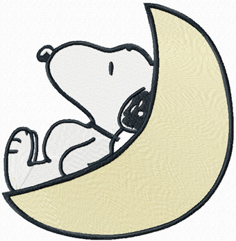 Snoopy and moon machine embroidery design