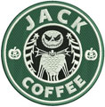 Jack coffee badge machine embroidery design