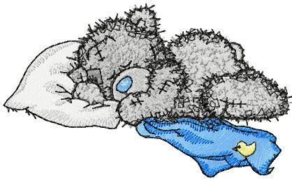 teddy bear sleeping machine embroidery design