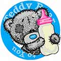 Bear with a bottle of milk badge machine embroidery design