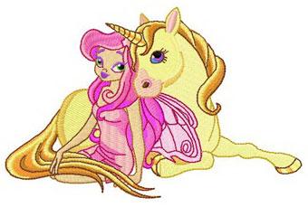Cute Fairy And Unicorn Machine Embroidery Design