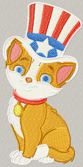 Independent day Happy cat machine embroidery design