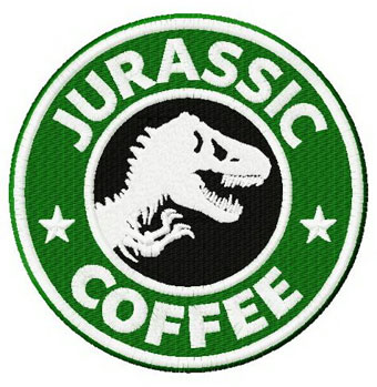 Jurassic coffee badge machine embroidery design