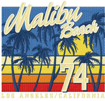 Malibu beach 74 embroidery design