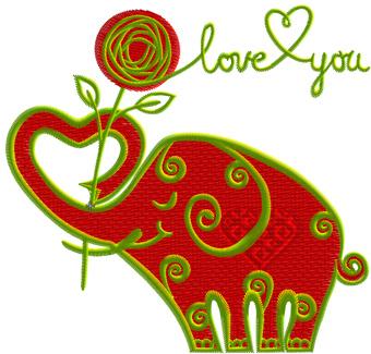 Schön Valentineu0027s Day Funny Elephant Machine Embroidery Design