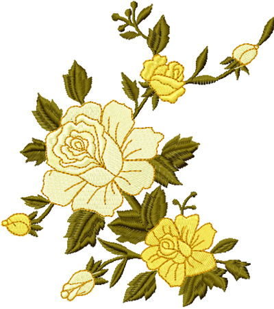 yellow rose free machine embroidery design