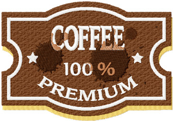 Vintage Coffee Premium label machine embroidery design