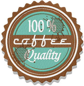 Coffee Label with spots machine embroidery design