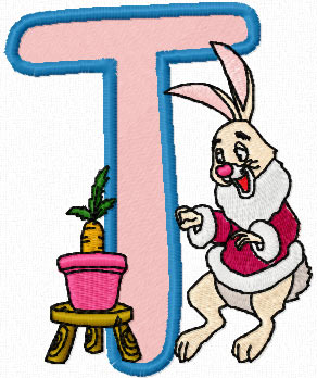 Rabbit Alphabet Letter T Machine Embroidery Design