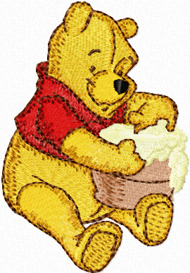 Winnie Pooh with honey machine embroidery design
