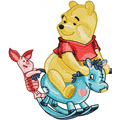 Winnie Pooh and Piglet riding Rocking Horse