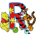 Winnie Pooh and Tiger painting Alphabet Letter R