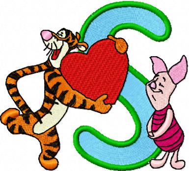 S Alphabet Letter In Heart Piglet Alphabet Letter S