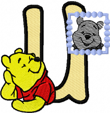Winnie Pooh loves his portrait letter U machine embroidery design